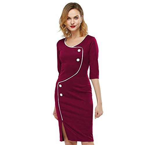 483c7a63dd KENANCY Elegante Mujer Vestido Lápiz Midi Falda 3 4 Mangas Vestidos de  Fiesta Bodycone Morado
