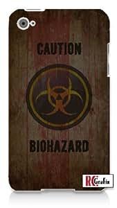 CAUTION Distressed Bio-Hazard Symbol - Biohazard Apple ipod 4 Quality Hard Case Snap On Skin for ipod 4/4G (WHITE)