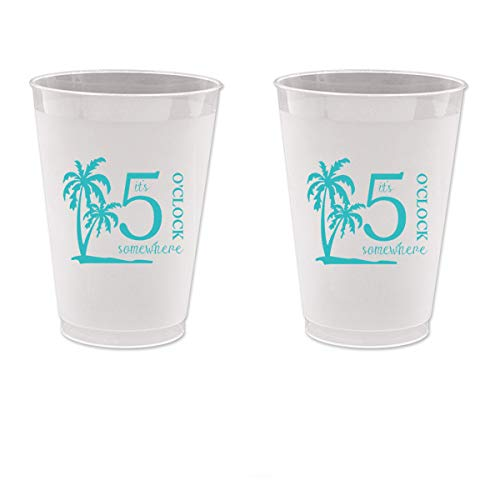 Personalized Stadium Cups - Everyday Frost Flex Plastic Cups - 5 o'clock Somewhere