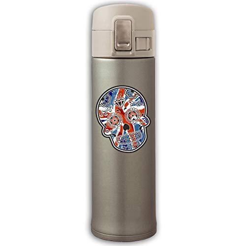Stainless Steel Mug UK Flag Skull Bouncing Cover