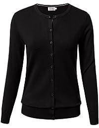 Women Button Down Long Sleeve Crewneck Soft Knit Cardigan Sweater (S-3XL)