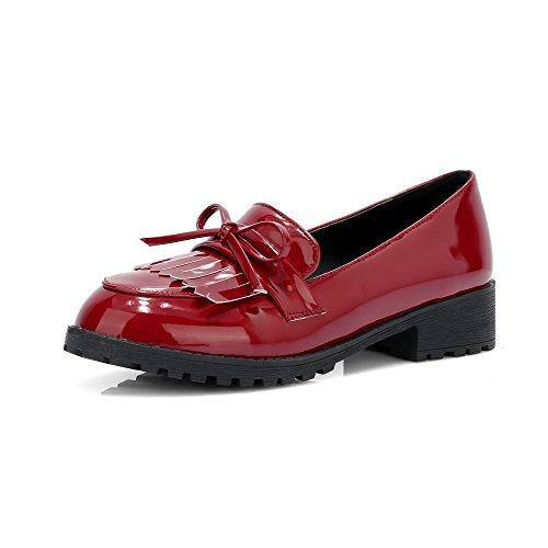 Amoonyfashion Womens Pu Talons Bas Chaussures À Talons Aiguilles Rouges