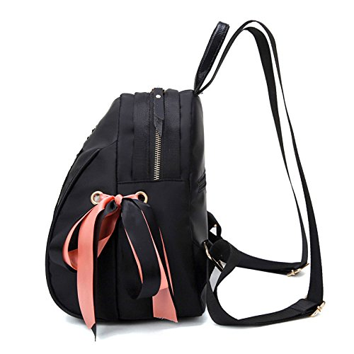 Black Backpack Woman Shoulder Courier Fabric Women's Women Bag Zll Waterproof Backpack Embroidery Shell Nylon Bag 6O4vZq