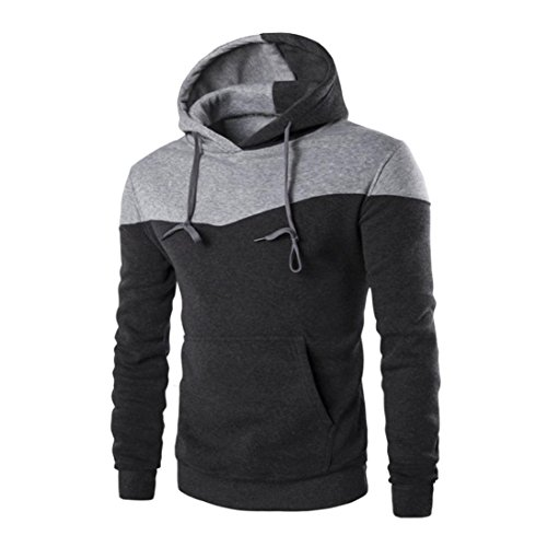 Napoo Clearance Mens TOP Fashion Pocket Patchwork Slim Solid Hooded Sweatshirt Outwear (XL, Dark Gray) by Napoo