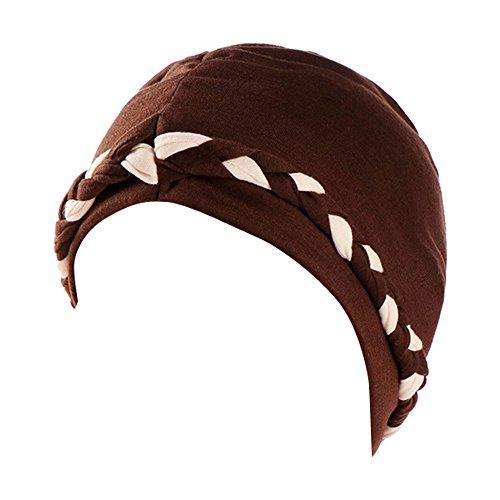 Dressin Muslim Caps Women's Elegant Stretch Flower Solid Color Turban Chemo Cancer Cap Hat Headwear ()
