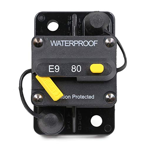 T Tocas 80 Amp Circuit Breaker Trolling with Manual Reset, 12V- 72V DC, Waterproof (80A)