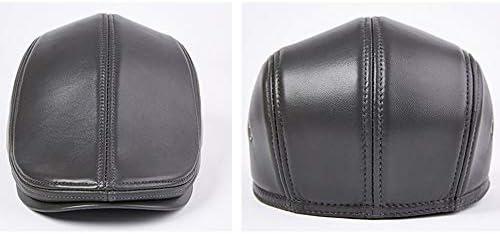 メンズベレー帽 男性のクラシック冬のレザー野球キャスケット帽耳トラッパーハットハンチングブラウングレーオレンジ メンズレザーベレー (Color : Gray, Size : XL)