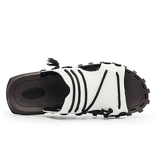 in in decorazioni Mens pelle pantofola con 2018 da incrociate Sandali casual con scivolo Bianca beach toe peep shoes uomo e scollo ampia V da treccia fascia vera a wdd0q6S