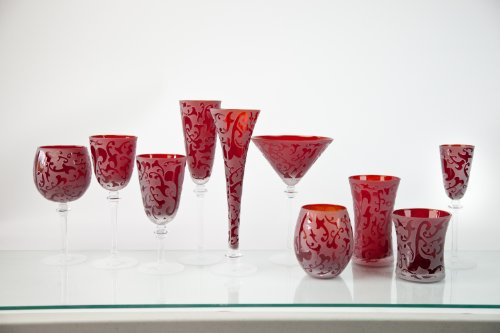 Skyros Designs Lauren Collection Glass Compote - (Ruby Compote)