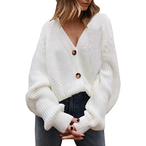 ROCMKL Women V Neck Button Down Long Sleeve Cable Knit Cardigan Sweaters Outerwear Tops ()