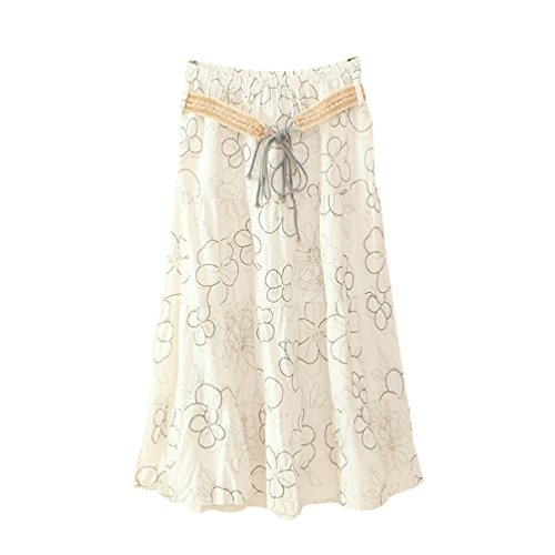 ZKOOO Bohme Jupes Mi Longue Femmes t Imprim Floral Taille Haute Jupe de Plage Lache Rtro Skirts lgant Style#14