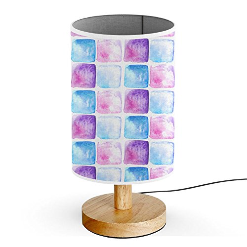 Blue Base Tile (ArtLights - Wood Base Decoration Desk / Table / Bedside Lamp [ Blue Purple Watercolor Tiles ])