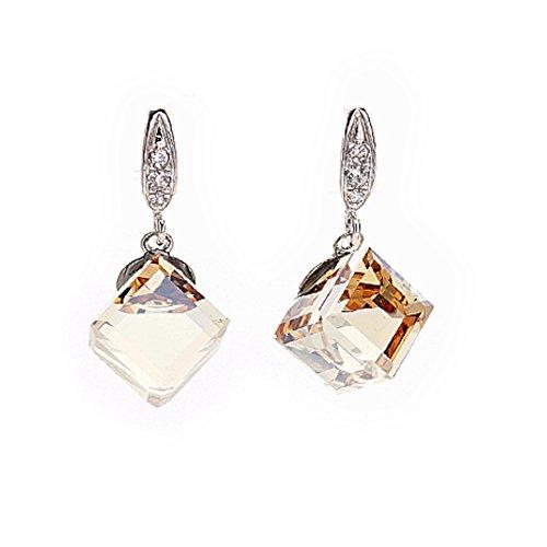 Cube Swarovski Element Crystal Dangle earrings (Champagne)