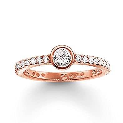 Thomas Sabo Silver Rose Gold Plated Cubic Zirconia Nazar Eye Ring TR2075-416-14-58 (Q 1/4)