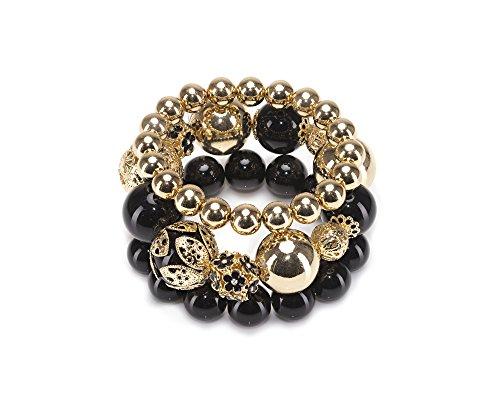 AP 3 in 1 - Triple Strand Black & Goldtone Statement Bracelet ()