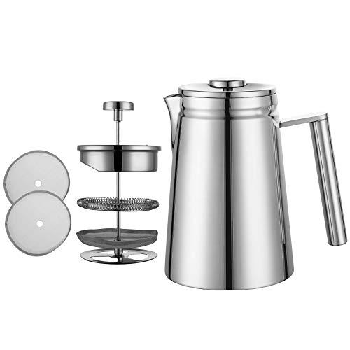 Muily – Cafetera de émbolo francesa, acero inoxidable, doble pared aislante, cafetera y tetera con filtro de acero…