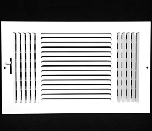 12w X 8h 3-Way AIR Supply Grille - Vent Cover & Diffuser - Flat Stamped Face - White [Outer Dimensions: 13.75w X 9.75h]