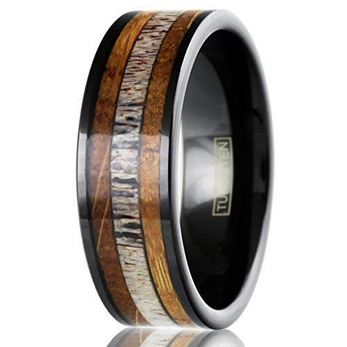 King's Cross Beautiful & Unique 8mm Piano Black Tungsten Carbide Flat Band Ring with Deer Antler Between Whiskey Barrel Oak Wood Inlays. (Tungsten (8mm), 13)