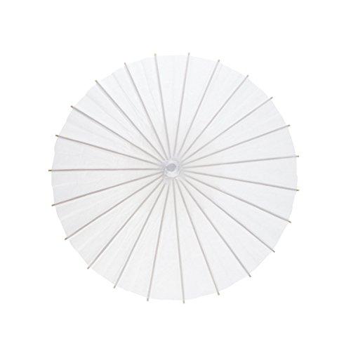 Aspire Pack of 6 Pcs Paper Parasols Kids DIY Umbrella Wedding Decoration Bridal Favor Photo Prop-White-Small (Paper Parasol Umbrella)