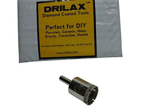 Drilax 1 Inch Diamond Hole Saw Drill Bit Tiles, Glass, Fish Tanks, Marble, Granite Countertop, Ceramic, Porcelain, Coated Core Bits Holesaw DIY Kitchen, Bathroom, Shower, Faucet Installation Hole Size 1