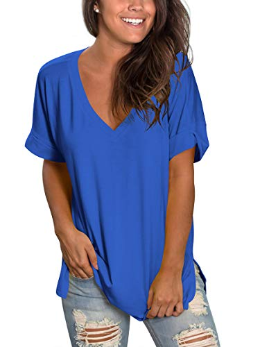 (Womens Short Sleeve Deep V Neck Shirts Summer Casual Tops High Low Plus Size Blue XXL)