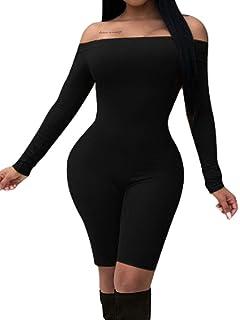 d7fc8233fc BEAGIMEG Women s Off Shoulder Long Sleeve Bodycon Romper Short Jumpsuit