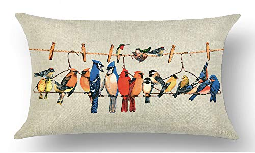 - WePurchase Hand Painted Colorful Bird's Nest Sparrow Parrot On The Rope Hanger Fall Y'all Autumn Cotton Linen Decorative Home Sofa Living Room Throw Pillow Case Cushion Cover Rectangle 12x20 Inches