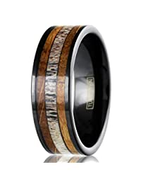 King's Cross Beautiful & Unique 8mm Piano Black Tungsten Carbide Flat Band Ring with Deer Antler Between Whiskey Barrel Oak Wood Inlays.