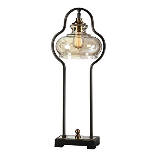 Curved Bronze Black Industrial Iron Table Lamp | Amber Glass Vintage Style Retro (Accent Lamp Amber Table)