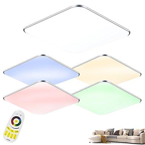 SAILUN 24W RGB Ultraslim LED Deckenleuchte Modern Deckenlampe Flur Wohnzimmer Lampe Schlafzimmer Kche Energie Sparen Licht Wandleuchte Farbe Silber