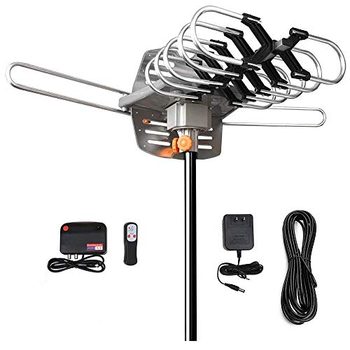 HDTV Antenna - Amplified Digital Outdoor TV Antenna 150 Mile Range 360° Rotation Support 2 TVs for UHF/VHF Channels - for Full HD 1080P 4K[Without Mounting Pole] (150 Mile Digital Tv Antenna)