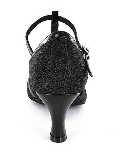 Similicuir Personnalisables Black Personnalisé Noir de Talon Argent Chaussures ShangYi danse Latine Tq7aOxAA