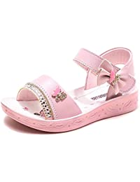 Open Toe Sandals Flower Glitter for Girls
