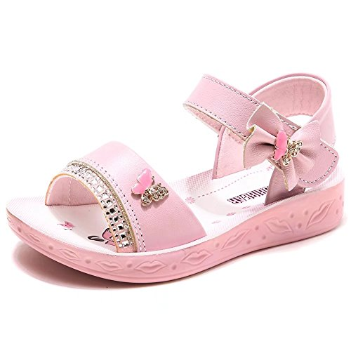 GUBARUN Open Toe Sandals Flower Glitter for Girls Girls Pink Flower Sandals