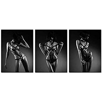 Biuteawal- Modern Canvas Painting Wall Art Sexy Woman Pictures Print on Canvas Black and White Girl Painting Giclee Artwork for Man Bedroom Wall Decor Framed Ready to Hang