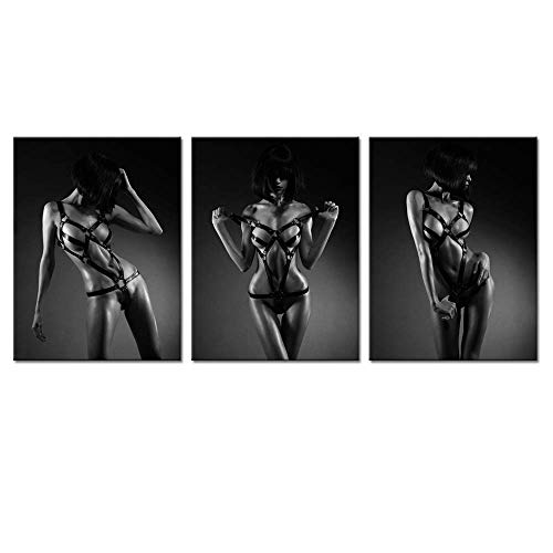 Biuteawal- Modern Canvas Painting Wall Art Sexy Woman Pictures Print on Canvas Black and White Girl Painting Giclee Artwork for Man Bedroom Wall Decor Framed Ready to ()