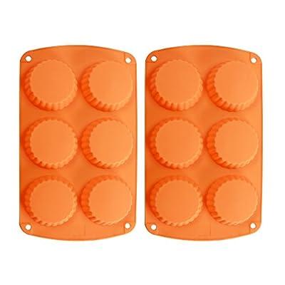 Webake 2-Pack Silicone Tart Pan Quiche Pan Silicone Tart Mold 6-Cavity Silicone Tartlet Pan