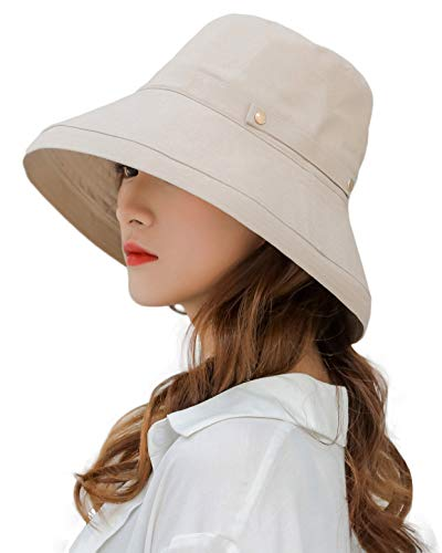 Women's Crushable Wide Brim Sun Protection Hat Packable Linen/Cotton Bucket Travel Hat w Chin Cord Beige ()