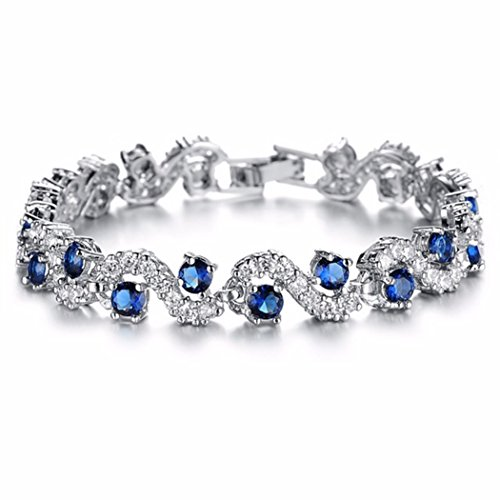 CARSINEL White Gold Plated Wave Tennis Bracelet with Sapphire Cubic Zirconia Wedding Bridal Jewelry Mother's Day Gifts for Mom (7.5inch) (Bracelets Zirconia Fish)