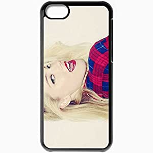 Personalized iPhone 5C Cell phone Case/Cover Skin Amber Heard Makeup Face Smile Shirt Image Black
