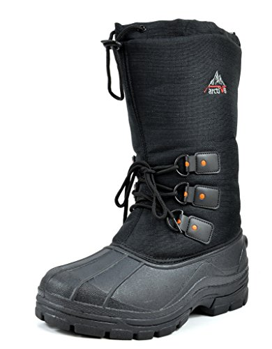 ARCTIVE GORGEOUS Men's Insulated Waterproof construction Rubber Sole Winter Snow Skii Boots Black Size 13