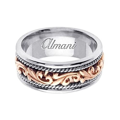Almani 14k Gold 9mm Handmade Two Tone Wedding Ring 062 – Size 14.5