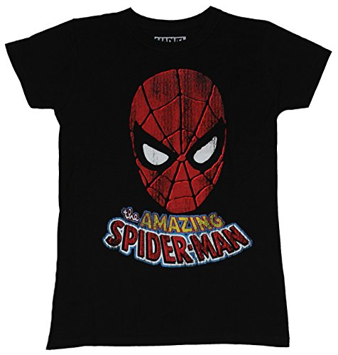 Spider-Man Girls Juniors T-Shirt - The Amazing Spider-man Distressed Head Image (Small) Black
