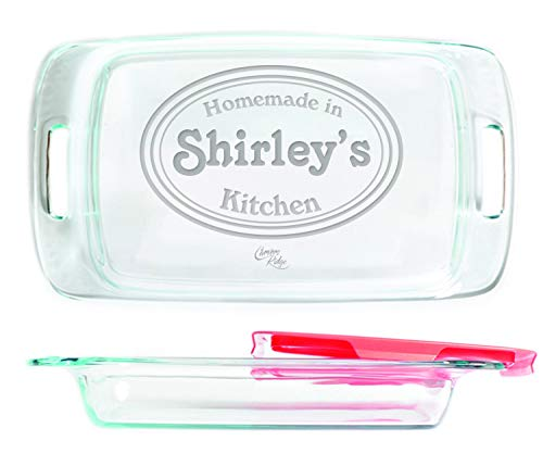 Engraved Glass Baking Dish with Lid 9x13 - Personalized - Homemade Kitchen -