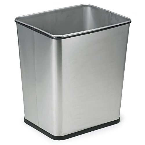 Polder 1410-47 Under-Counter 7-Gallon Square Trash Can, Brushed Stainless Steel (Kitchen Under Counter Trash Can)