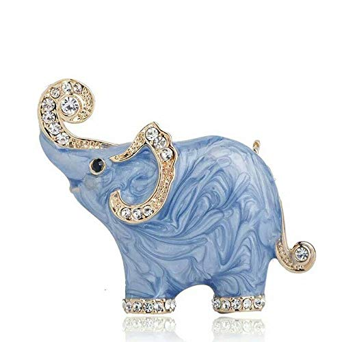 Tanakorn Lovely Blue Texture Enamel Elephant Shape Brooch Crystal Pins Brooches for Women Kids Scarf Clothes Jewelry