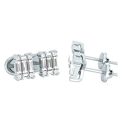 0.35 Carat (ctw) 14K White Gold Round & baguette Cut White Diamond Ladies Stud Earrings 1/4 (Baguette Cut Diamond Earrings)