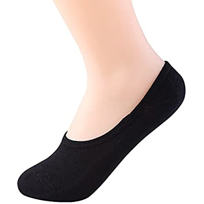 TensionX Women's 3PK Quick Dry Odor Resistant Thin Low Cut Causal Socks No Show Non Slip Socks (black) at Women's Clothing store