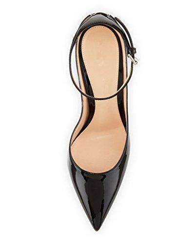 Eldof Mujeres 100mm Señaló Punta De Patente Bajo Cuello Tobillo Abrigo Bomba Fiesta Zapatos De Vestir Negro