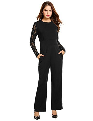 ANGVNS Women's Black Long Sleeve High Waist Wide Leg Lace Playsuit Club Cocktail Jumpsuit Romper
